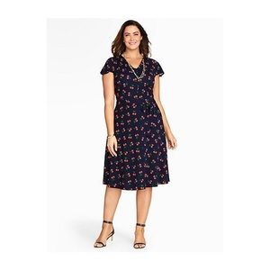 Talbots Woman Navy Cherry Print Swing Dress
